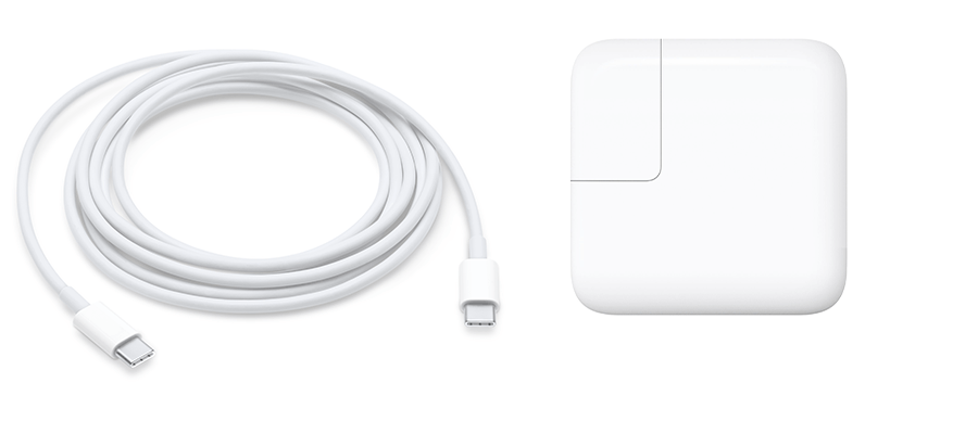 30W USB-C power adapter and USB-C charge cable